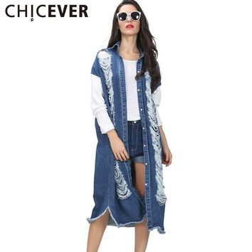 [CHICEVER] 2017 Spring Women Denim Hollow Ripped Jacket Female Patchwork Sleeve Coats Long Windbreak Straight Clothes Fashion