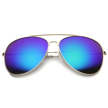 Womens Aviator Sunglasses With UV400 Protected Mirrored Lens