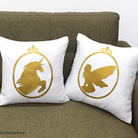 Hand Cut Gold Unicorn And Fairy Cameo White Decorative Pillow Covers Set. 16inch Cushion Cover. White And Gold Girls Room Decor. Fairy Tale