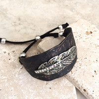 Feather - Metal and Leather Cuff Bracelet