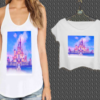 Castle of Disney Princess For Woman Tank Top , Man Tank Top / Crop Shirt, Sexy Shirt,Cropped Shirt,Crop Tshirt Women,Crop Shirt Women S, M, L, XL, 2XL**