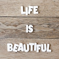 Life is beautiful wood floor  8 x 8  Fine Art by magalerie on Etsy