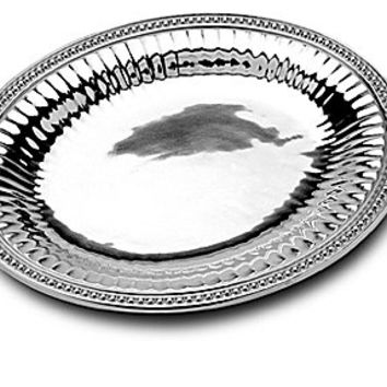 "Wilton Armetale Flutes & Pearls Oval Tray - 14.5x12"" Oval Tray"