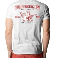 True Religion Double Puff Crew Neck Mens T-shirt - White