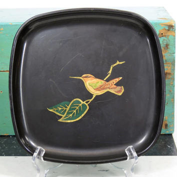 Couroc Hummingbird Small Serving Tray Wood Brass Inlay . Vintage Mid Century Barware