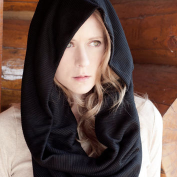 Black Hooded Scarf, Infinity Cowl Shrug, Black Oversized Shawl Wrap Scarf, Circle Scarf, Extra Large Scarf