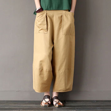 Women Pants Big Pockets Casual