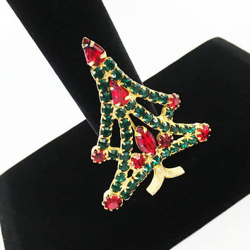 Vintage Rhinestone Pin, Festive Christmas Tree Brooch, Red and Green Rhinestone Holiday Pin, Winter Hat Flair