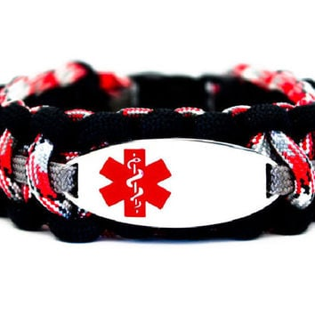 550 Paracord Bracelet with Engraved Oval Stainless Steel Medical Alert ID Tag - Red