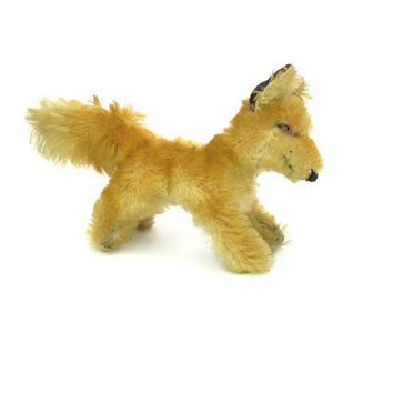 Steiff Fox Running Baby Red Pup Mohair Hard Stuffing Glass Eyes Rare Vintage Stuffed Animal Collectible 1950s 'Fuchs' No Button/Label.