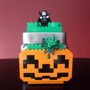 Lego Glass Candy Jar, Pumpkin, Keepsake Jar,Toy Jar~LEGO Minifigure & LEGO Blocks.LEGO party,Home Decor,Birthday Gift,Centerpiece,Storage.