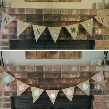 Reversible St. Patrick's Day Easter Banner, Burlap Easter Bunny Easter Eggs Banner, Burlap St. Patricks Day Banner, Easter Photo Prop