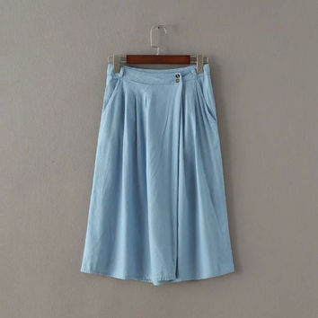 Summer Ruffle Rinsed Denim High Waist Pants Denim Capri [8173505415]
