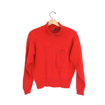 90s cropped sweater Cotton jumper Womens boxy pullover Mock neck Red Preppy Sweater Small Meidum