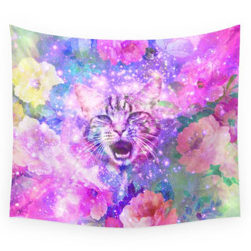 Society6 Space Cat Girly Kitten Cat Romantic Flora Wall Tapestry