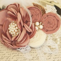 Rose Tan Flower wedding dog collar, Feather, Lace, Victorian