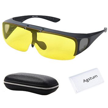 Agstum Fit Over Wrap Around Eyeglasses Prescription Glasses Polarized Night Driving Flip up Night Vision Sunglasses Goggles