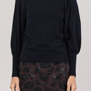 Dewi Puff Sleeve Crewneck, Black