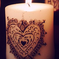 Henna Heart Pillar Candle