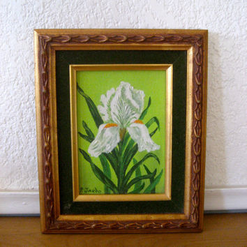 Framed Oil Painting of an Iris by nellsvintagehouse on Etsy