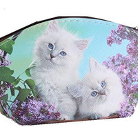 White Kittens with Purple Flowers on Girls or Womens Coin Purse