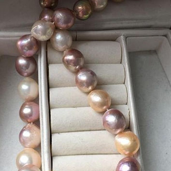 Baroque 12-14mm Multi-colored Freshwater Pearl Strand For Girls P30