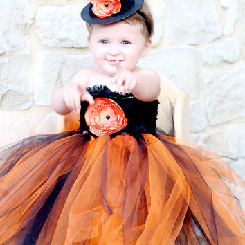 Beautiful Witch Tutu Dress Costume with Witch Hat for Baby Girl 12-24 Months Halloween
