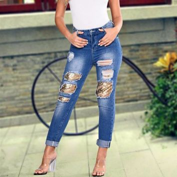 Fashion Sequin Worn Ripped Jeans Women Casual Pants Trousers