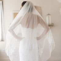 GRACES - two tiers of fingertip bridal veil with French lace
