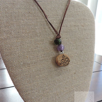 Wine jewelry Real cork Adjustable necklace Fun gift ideas (N021)