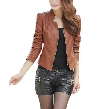 Womens Sexy Winter Long Sleeve Slim Biker Motorcycle PU Leather Jacket Zipper Coat