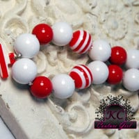 Girls Chunky Beaded Necklace Anchor Kids Boutique Jewelry Red and white Fourth of July
