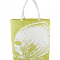 Lime Green & White Citrine Fish Print Jute Beach Tote