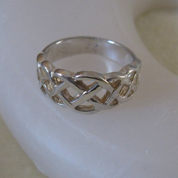 Vintage Sterling Silver Woven Ring