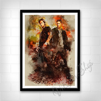 Supernatural Sam And Dean Poster, Supernatural Watercolor Art Print, Jensen Ackles, Jared Padalecki, Winchester Brothers Poster Art