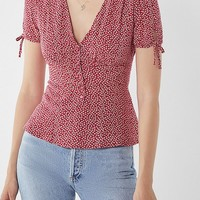 UO Button-Down Tie-Sleeve Blouse | Urban Outfitters