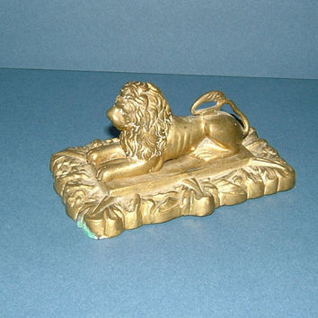 Victorian Solid Brass Paperweight - A Guardian Lion  - Made in England