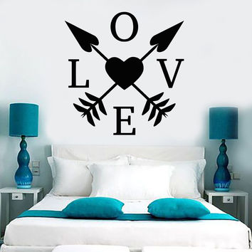 Vinyl Wall Decal Love Heart Arrows Romantic Room Decoration Unique Gift (ig4371)