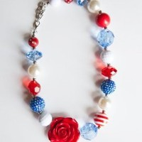 Chunky Beads Necklace For Little Girls & Toddlers - Firecracker- Great For Fourth of July - Fashion Kids Jewelry For Playing Princess Dress Up - Lifetime Guarantee:Amazon:Toys & Games