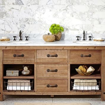 BENCHWRIGHT DOUBLE SINK CONSOLE - WAX PINE FINISH