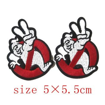 2018 Parches Embroidery Stickers 2pcs Embird Ghostbuster Movie Iron On / Sew Uniform Logo Patch Symbol Badge Cloth Sign Costume