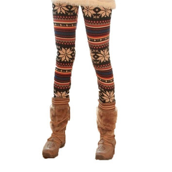 Splendid Women'S Diamond Floral Pattern Print Trousers mid High Waist Casual Slim  Winter Warm Leggings = 1695616260
