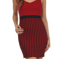 Cutout Sweetheart Jewel Striped Bodycon Dress - Red