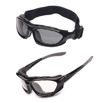 Motor Cycle Goggles Polarized Clear 2 Pairs Day Night, Helmet Glasses Interchangeable Temples Strap, Road Racing Sunglasses