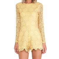 Alexis Izu Long Sleeve Romper in Yellow