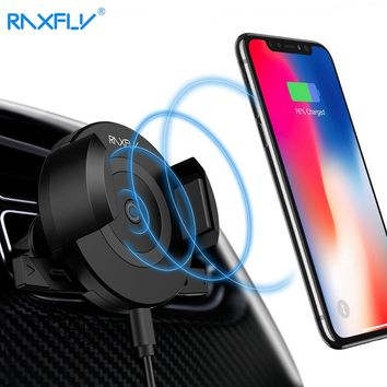 RAXFLY Wireless Car Charger For iPhone X 8 Air Vent Car Phone Holder Car Charger For Samsung S9 S9PLUS Fast Car Wireless Charger