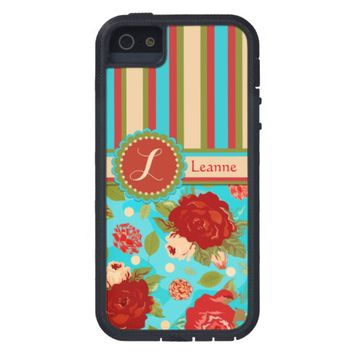Custom Vintage Roses Turquoise iPhone 5 Case
