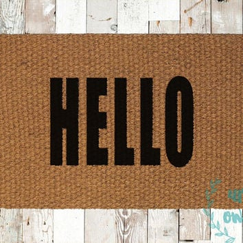 Hello Bold Text Coir Doormat, Decorative Area Rug, Hand Painted Hand Woven, Housewarming Gift