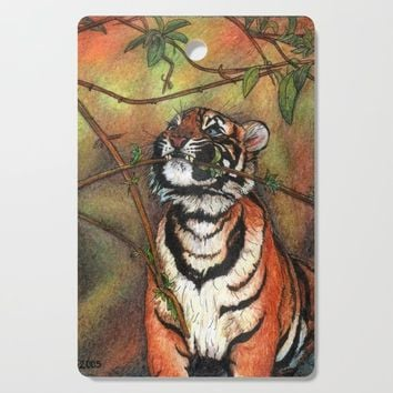 Baby tiger is playing Cutting Board by savousepate