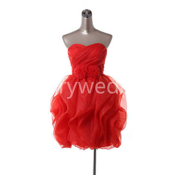 Red ruffles flowers organza party dress by Rosaryweddingdress